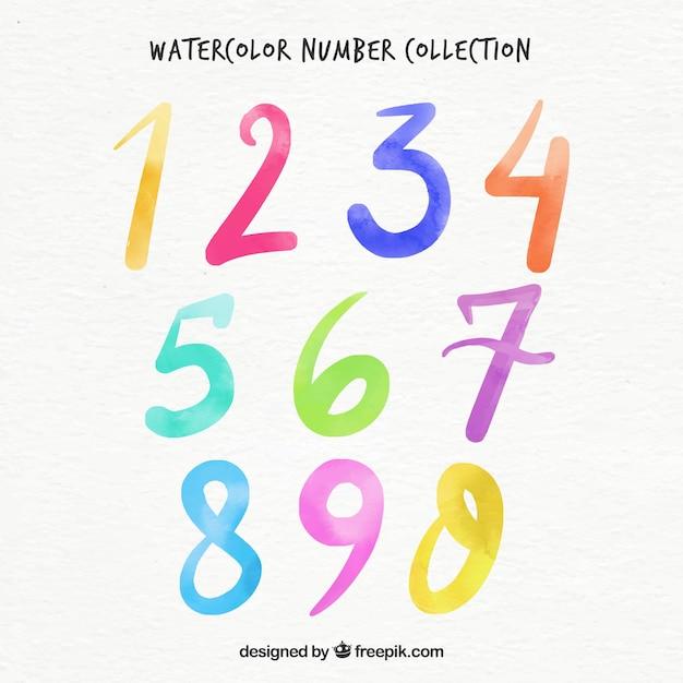 Коллекция акварельных номеров Бесплатные векторы