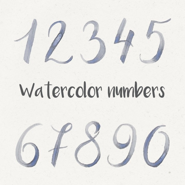 Watercolor numbers collection Free Vector