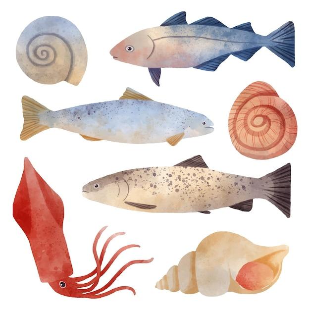 Collezione di creature dell'oceano dell'acquerello Vettore gratuito