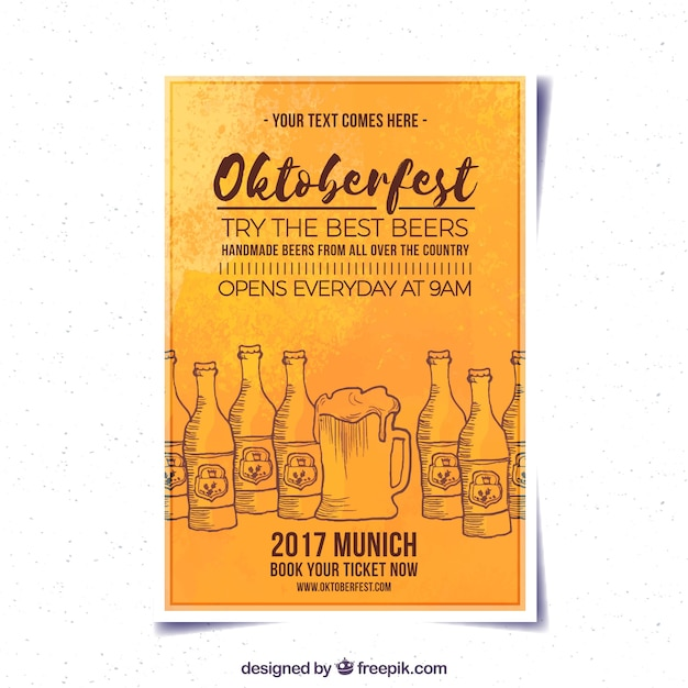 Watercolor oktoberfest brochure with beer drawings
