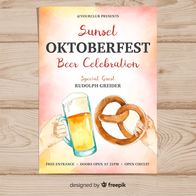 Watercolor oktoberfest poster template Free Vector