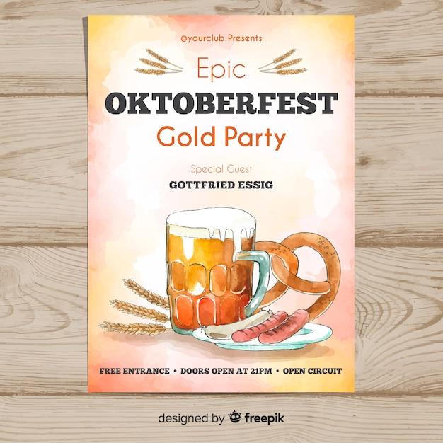 Watercolor oktoberfest poster template Free Vector