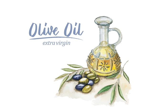 Watercolor olive oil Premium Vector