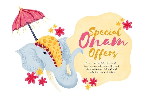 Watercolor onam sales concept Free Vector