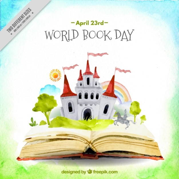 Watercolor open book with a castle background Premium Vector