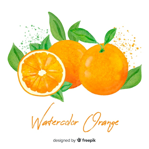 Watercolor orange background Free Vector
