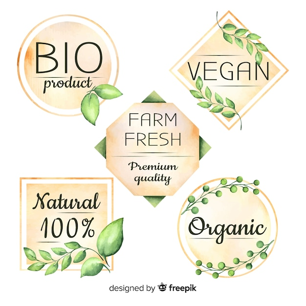 Watercolor organic food logo collection Free Vector