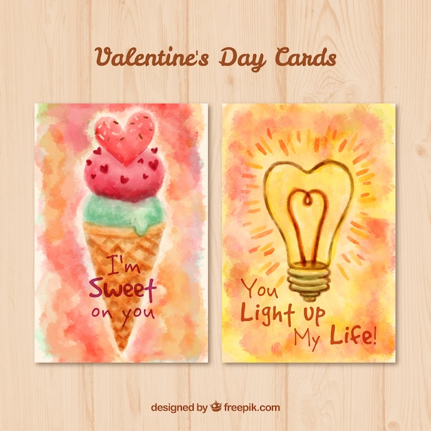 Watercolor original valentine cards Vector – Original Valentines Cards
