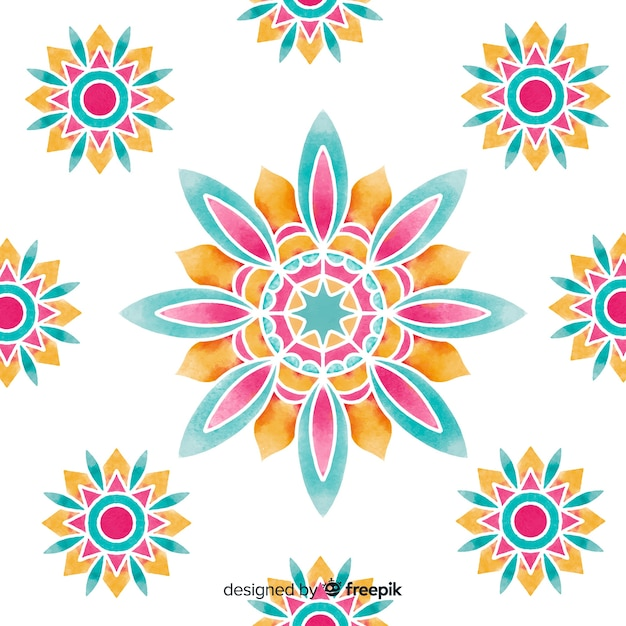 Watercolor ornamental flower background Free Vector