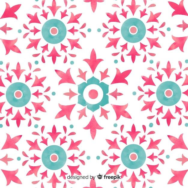 Watercolor ornamental flower pattern background Free Vector