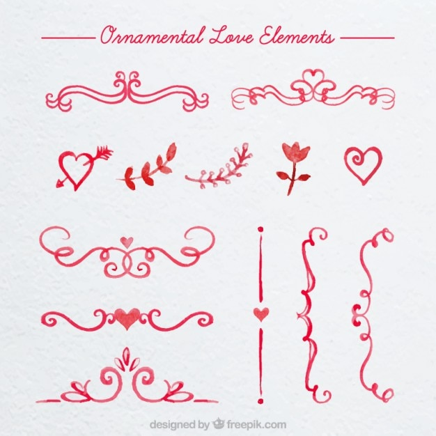 Watercolor ornamental love borders Free Vector