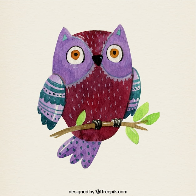 Watercolor owl background on a branch Free Vector