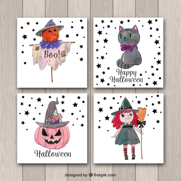 Watercolor pack of halloween cards Free Vector