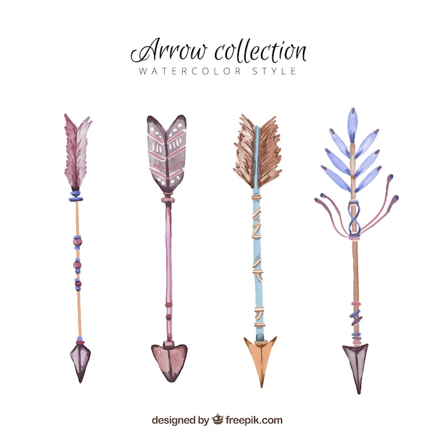 Watercolor pack of arrows with decorative feathers Free Vector