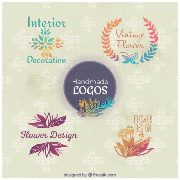 Watercolor pack of floral logos