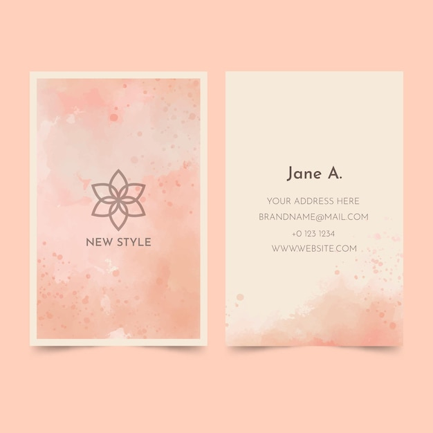 Watercolor paint-dipped business card template Free Vector
