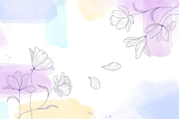 手描きの花と水彩画の背景 無料ベクター