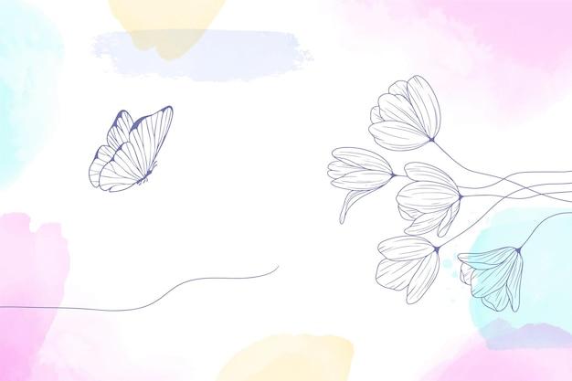 수채화 그려진 손으로 그린 꽃 배경 무료 벡터