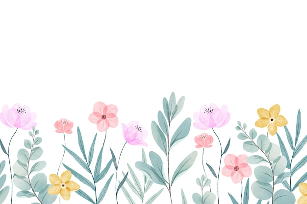 Watercolor painted spring background Free Vector