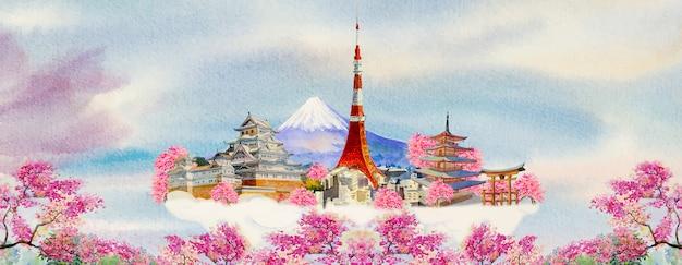 Watercolor paintings popular travel landmark Premium Vector