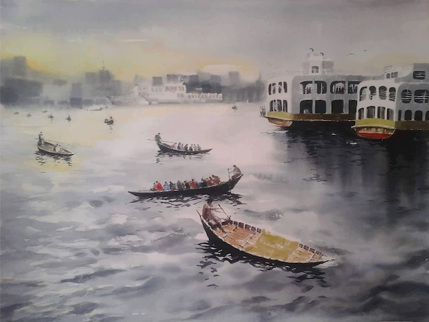 Акварельные картины корабли и лодки в речном пейзаже Premium векторы