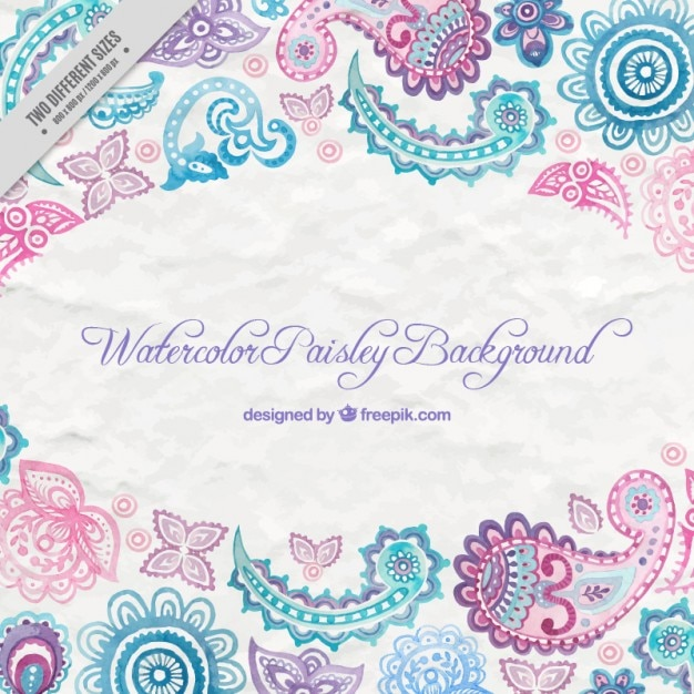 Watercolor Paisley Decoration Background Vector Free