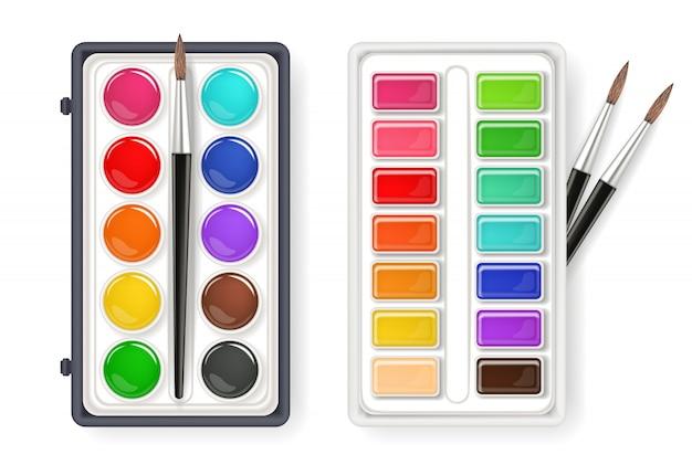 premium vector | watercolor palette drawing collection  freepik