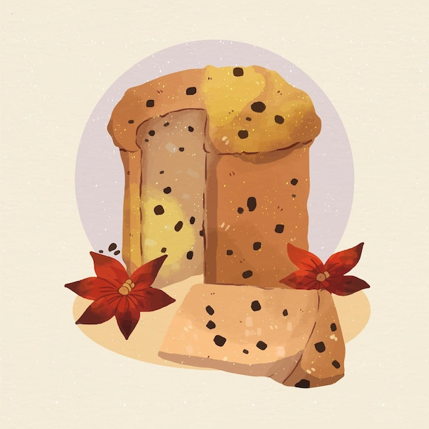 Watercolor panettone illustration with chocolate chips and flowers Free Vector