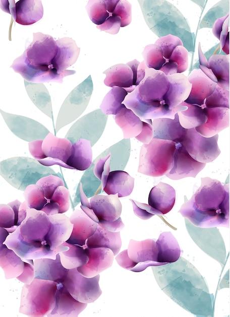 Акварель анютины глазки летние цветы и листья Бесплатные векторы