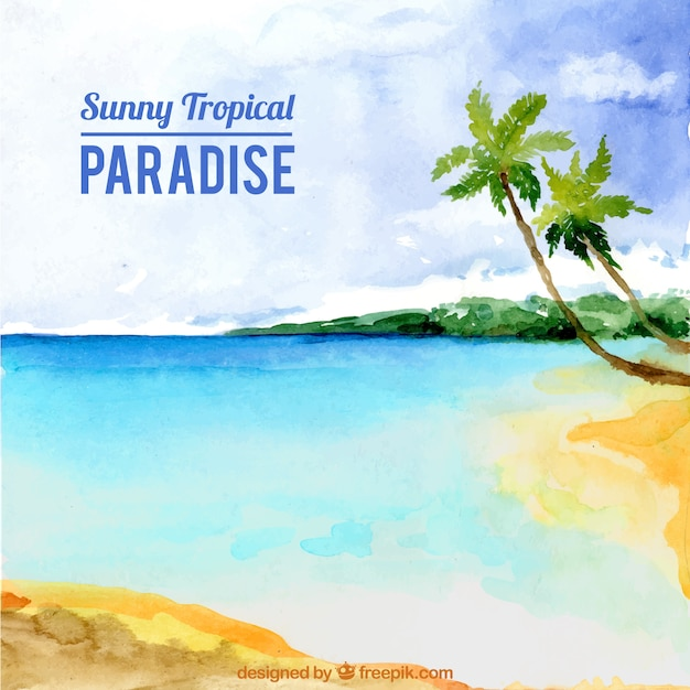 Watercolor paradise beach background