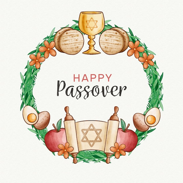 Watercolor passover (pesach) concept Free Vector