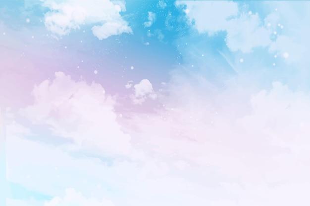 水彩パステル空の背景 無料ベクター