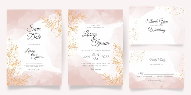 Watercolor pastel wedding invitation card template set with golden floral decoration Premium Vector