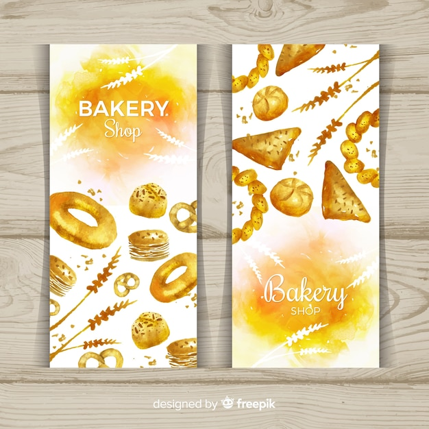 Watercolor pastries banner template Free Vector