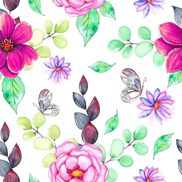 色とりどりの花で水彩のパターン Premiumベクター