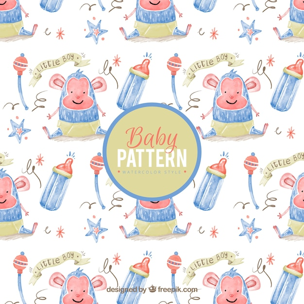 Watercolor pattern with smiling baby monkey and\ rattles