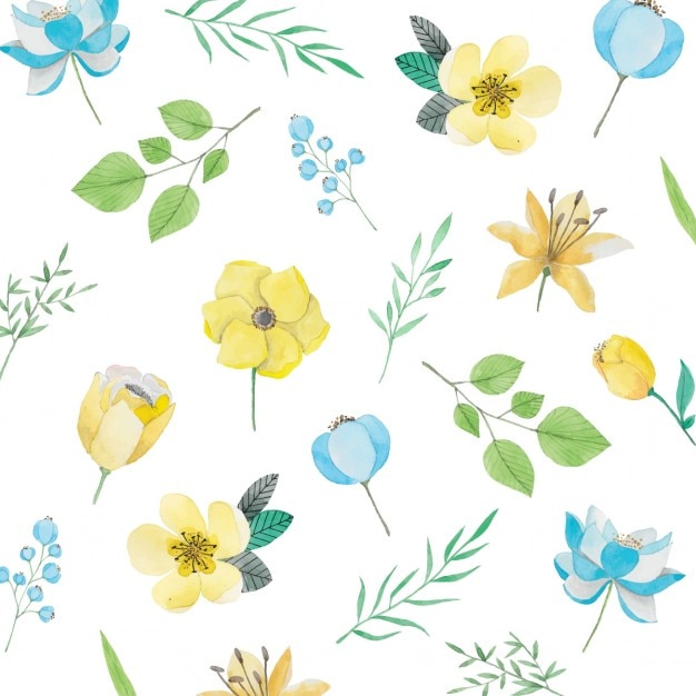 Watercolor pattern with yellow and blue flowers vector free download watercolor pattern with yellow and blue flowers free vector mightylinksfo