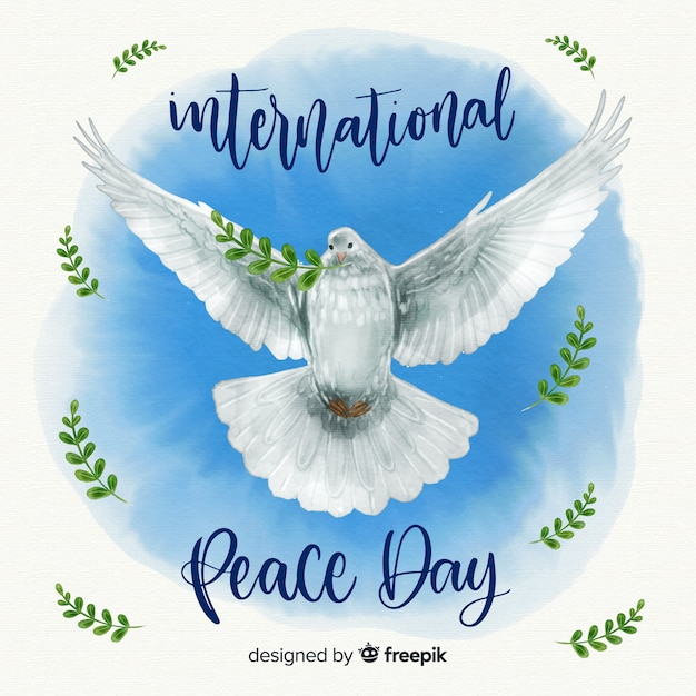 Watercolor peace day background with beautiful realistic dove Free Vector