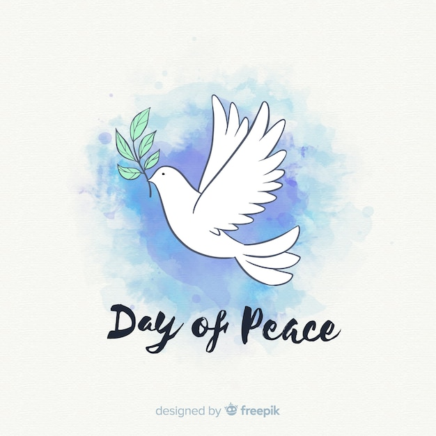 Watercolor peace day background with dove Free Vector
