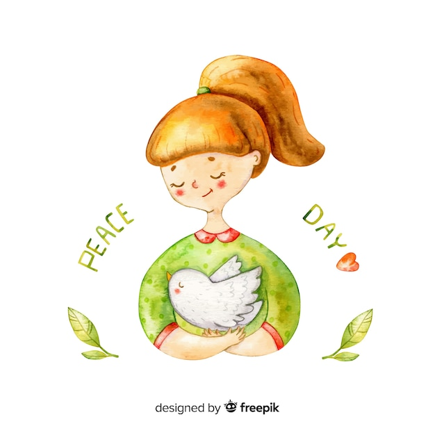 Watercolor peace day background with girl Free Vector
