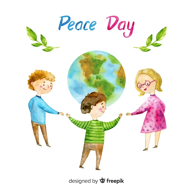Watercolor peace day background with kids Free Vector