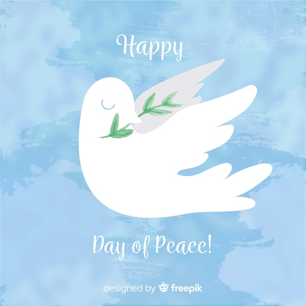 Watercolor peace day background with white dove Free Vector
