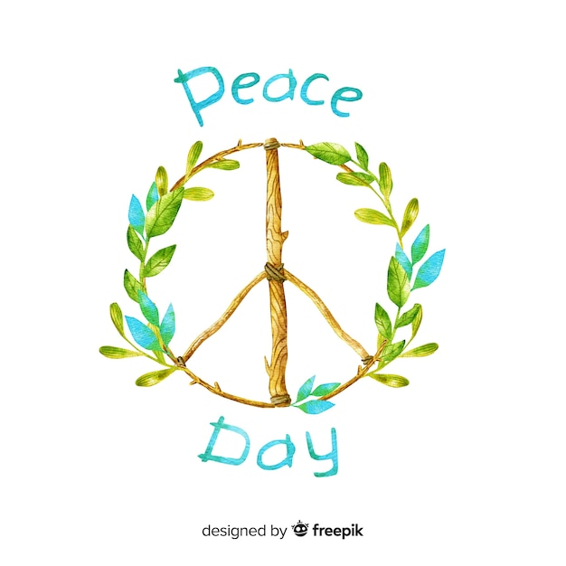 Watercolor peace day background Free Vector