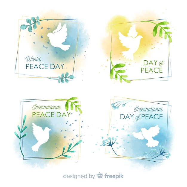 Watercolor peace day badge collection Free Vector