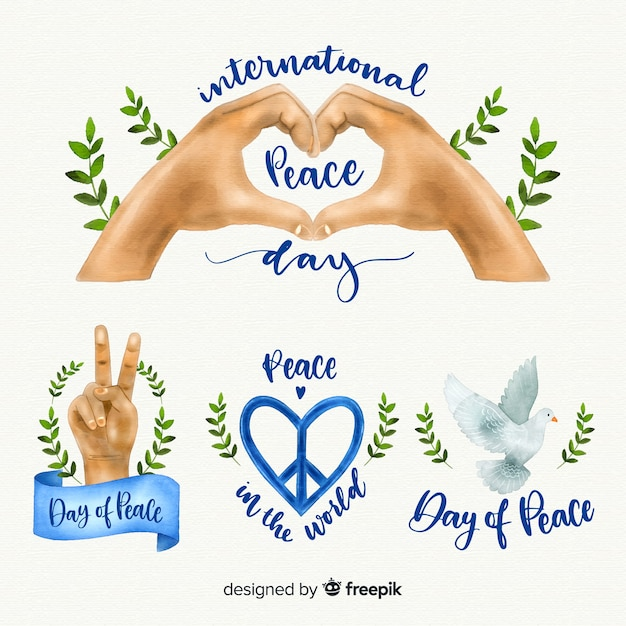 Watercolor peace day label collection Free Vector