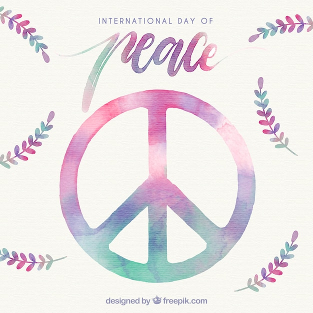 Watercolor Peace Symbol And Laurel Leaves Vector Free Download