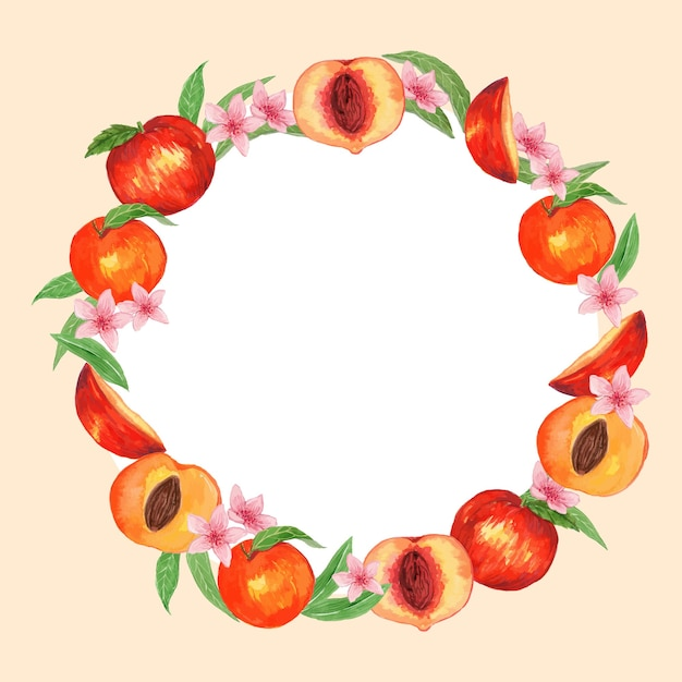 Watercolor peach fruit round frame template Premium Vector