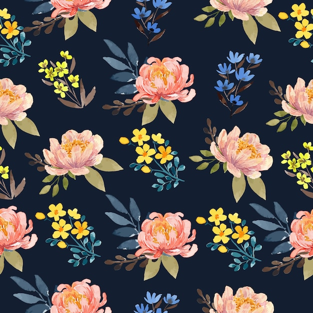 Watercolor peach peony in navy background floral seamless pattern Premium Vector