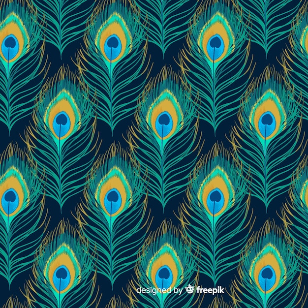 Watercolor peacock feather pattern collection Free Vector