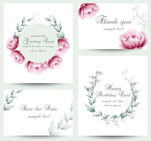 Watercolor peony flowers blossom card collection Premium Vector